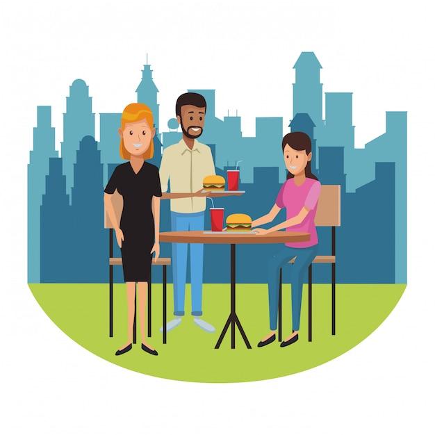 Restaurante e pessoas Vetor Premium