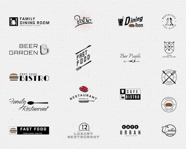 Restaurante emblemas logotipos e rótulos Vetor Premium