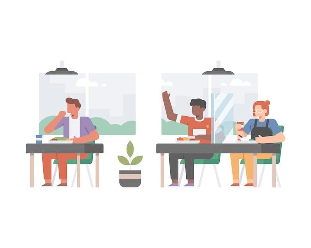Restaurante fazendo protocolos de segurança no meio da pandemia de coronavírus, fazendo distanciamento social e instalando vidro de fronteira entre o cliente Vetor Premium