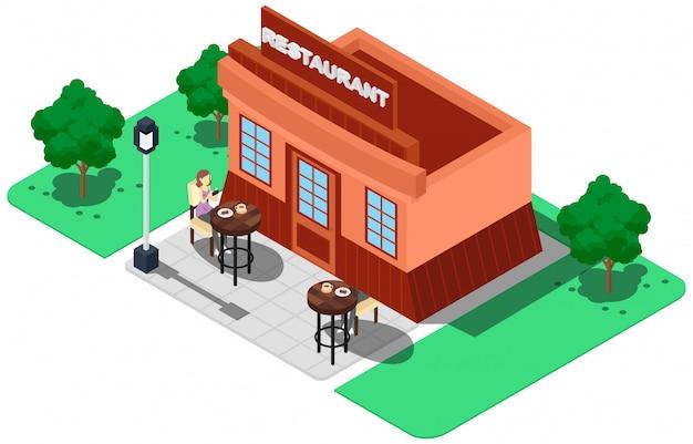 Restaurante isométrico com compradores Vetor Premium