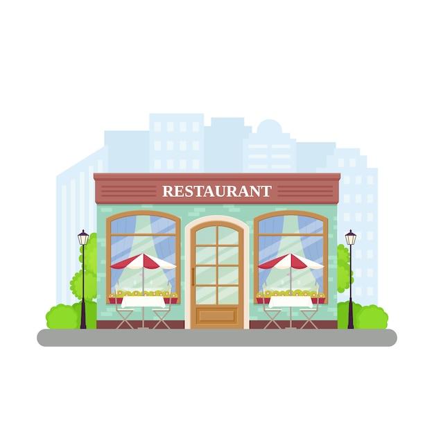 Restaurante. loja de café de rua. ilustração no apartamento. Vetor Premium