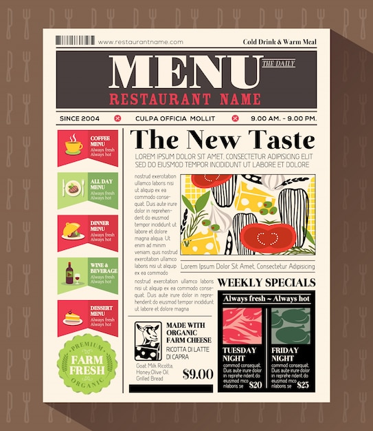 Restaurante, menu, desenho, modelo, jornal, estilo Vetor Premium