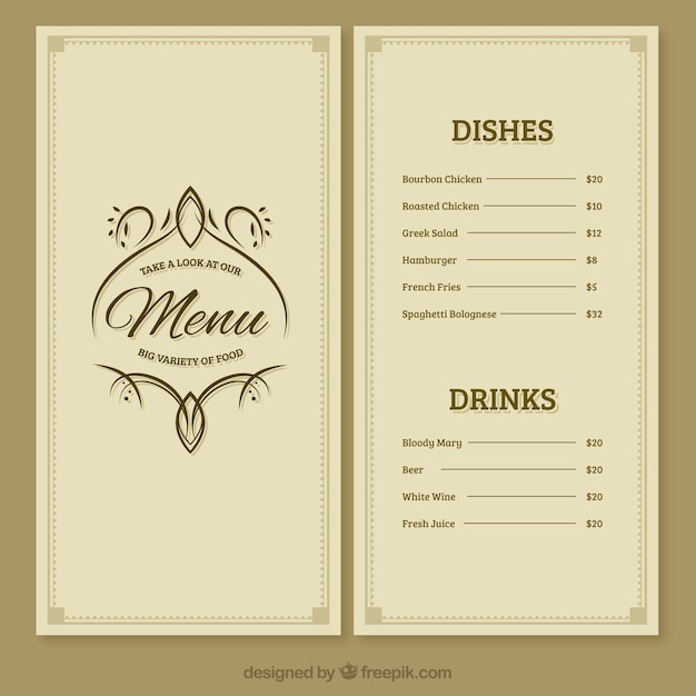 editable menu templates free