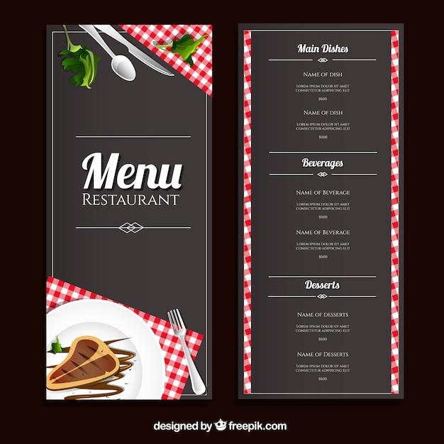 Restaurante modelo de menu Vetor Premium