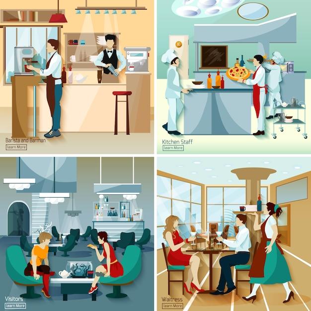 Restaurante pessoas 2x2 concept Vetor grátis