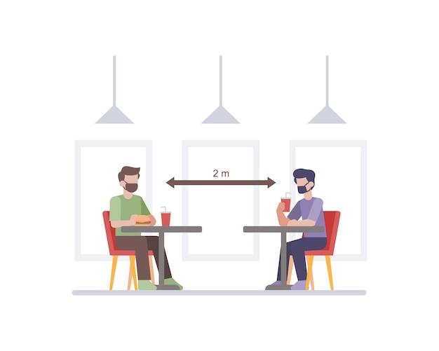 Restaurante praticando protocolos de segurança e saúde ao fazer o distanciamento social entre a ilustração da cadeira da mesa do cliente Vetor Premium