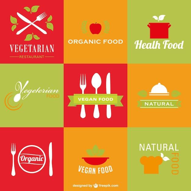 Restaurante vegetariano saudável logos orgânica Vetor grátis