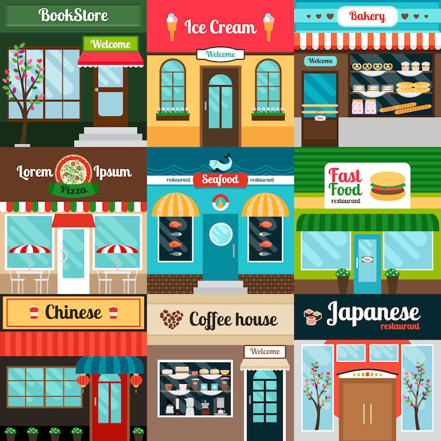 Restaurantes com diferentes tipos de fachada de comida Vetor Premium