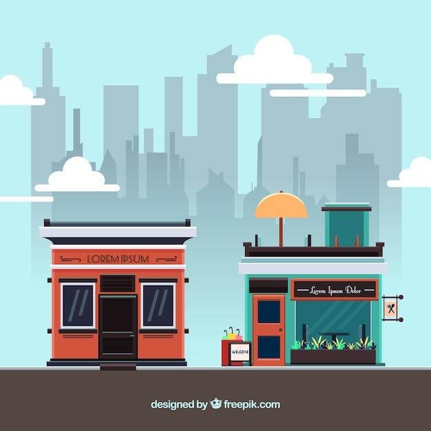 Restaurantes urbanos modernos Vetor grátis