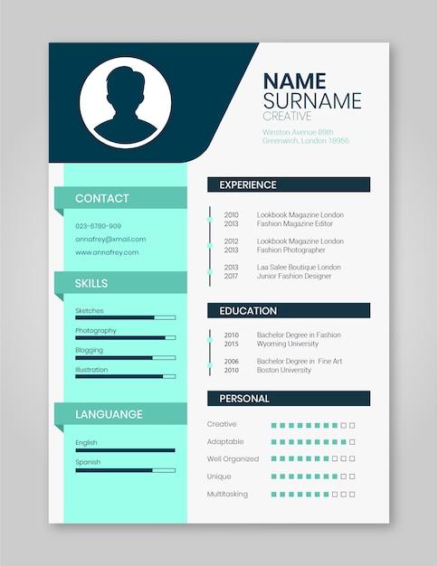 Resume template minimalista Vetor Premium