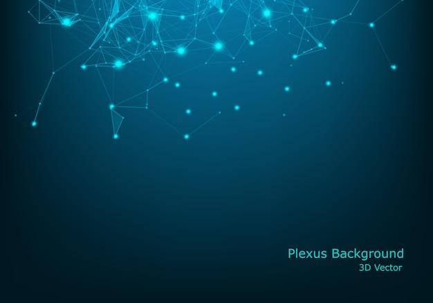 Resumo 3d futurista pontos e linhas. estrutura de conexão digital geométrica do computador. grade abstrata preta futurista. Vetor Premium