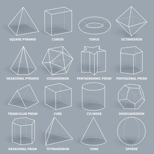 Resumo 3d matemática contorno geométrico formas vector set Vetor Premium
