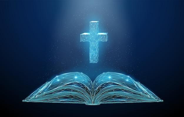 Resumo aberto poli baixa bíblia com cruz. Vetor Premium