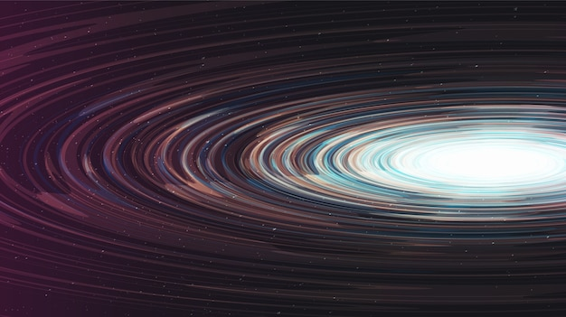 Resumo buraco negro espiral brilhante no design de conceito de galaxy background.planet e física. Vetor Premium