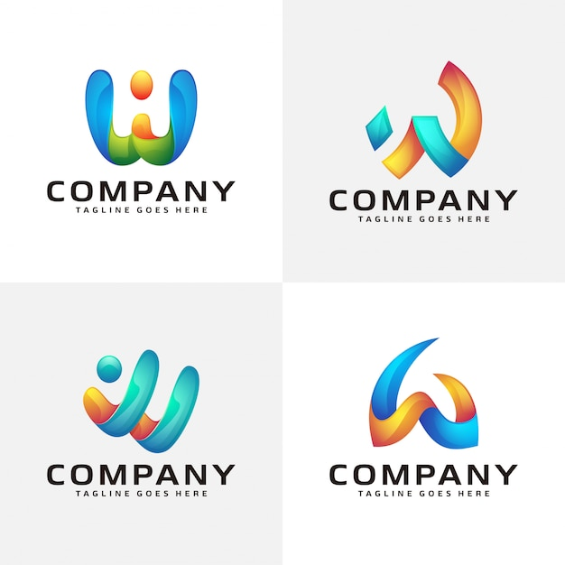 Resumo carta w design de logotipo Vetor Premium