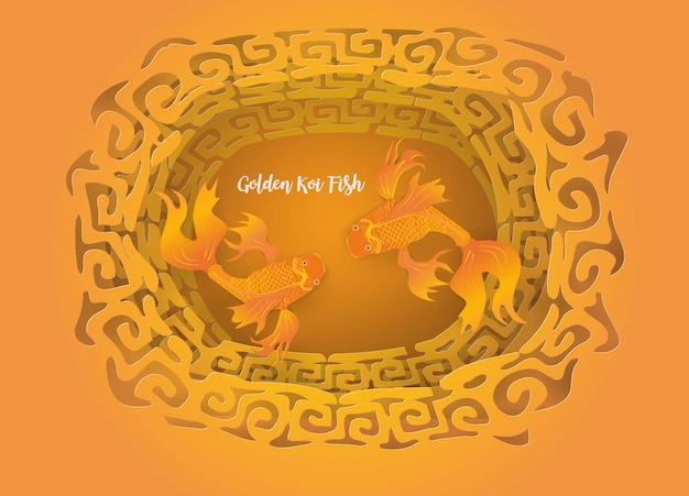 Resumo com vista superior golden peixes koi em dourado chinês Vetor Premium