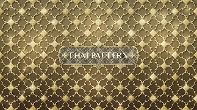 Resumo conectando ouro padrão tailandês Vetor Premium
