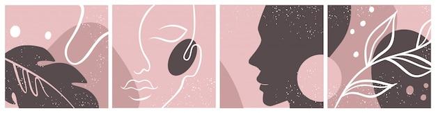 Resumo conjunto com rosto de mulher, silhueta, elementos florais, um desenho de linha. Vetor Premium