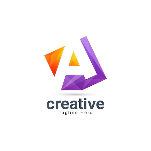 Resumo criativo vibrante letra a modelo de design de logotipo Vetor Premium