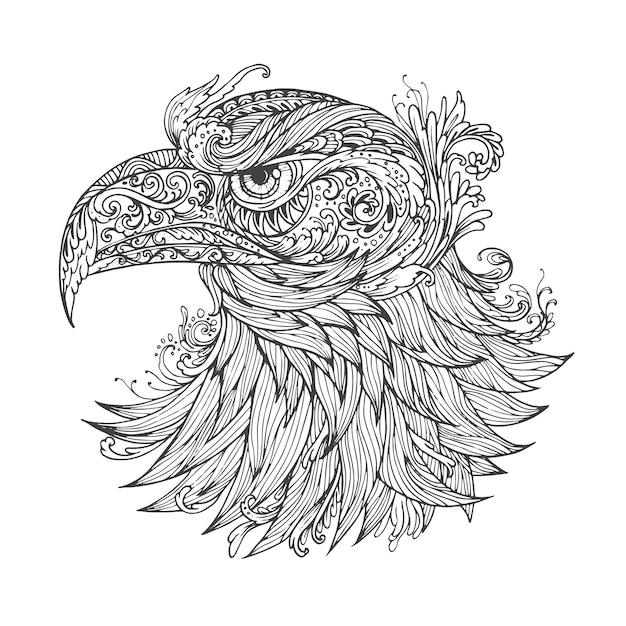 Resumo de altamente ornamentais ornamentais de mão desenhada. Vetor Premium