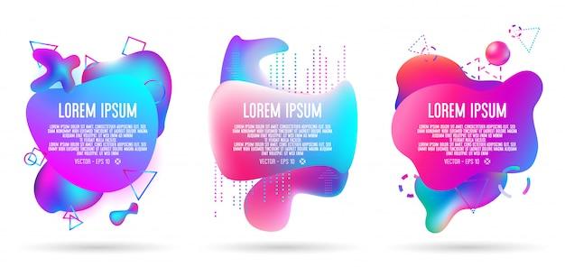 Resumo de banner 3d líquido em três conjuntos, todos os elementos do trabalho de arte contêm gradientes coloridos Vetor Premium