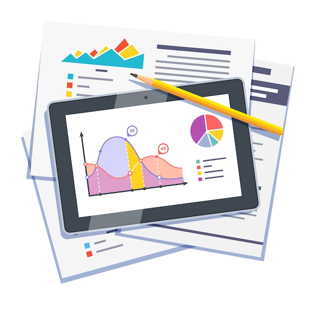 Resumo de dados estatísticos em papel e tablet Vetor grátis