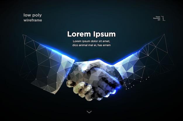 Resumo de duas mãos aperto de mão Vetor Premium