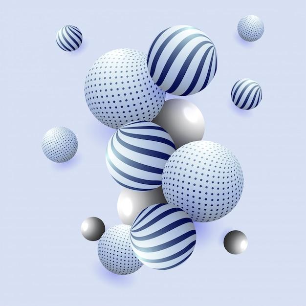 Resumo de esferas brilhantes 3d em fundo azul Vetor Premium