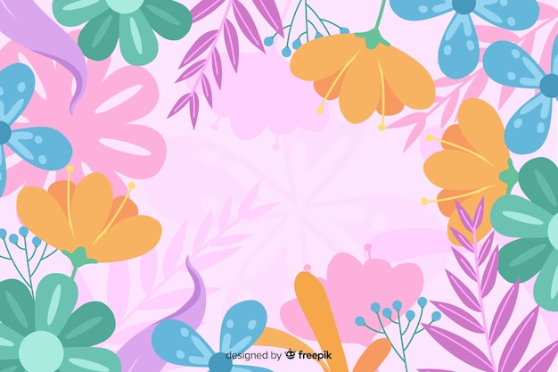 Resumo de fundo floral desenhada mão Vetor grátis