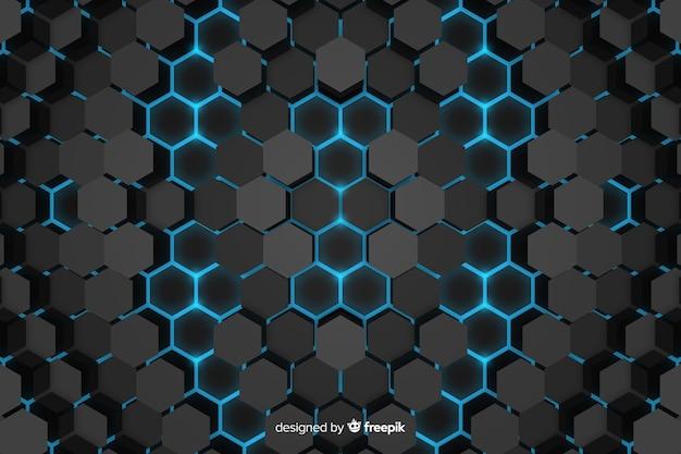 Resumo de fundo tecnológico de favo de mel Vetor grátis