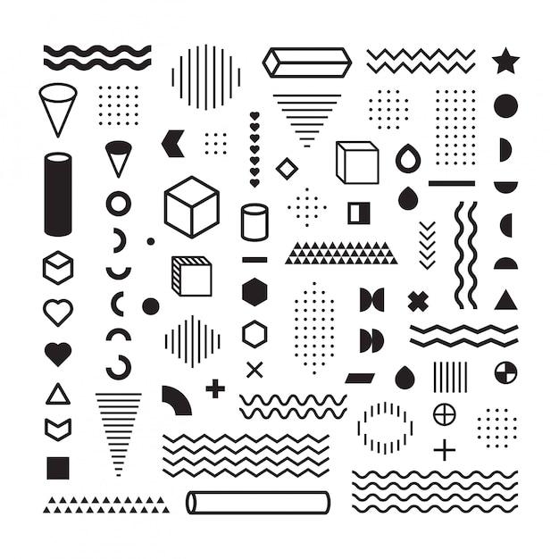 Resumo de hipster padrão. formar linhas geométricas e formas de variedade. polkadots. estilo de moda sem costura Vetor Premium