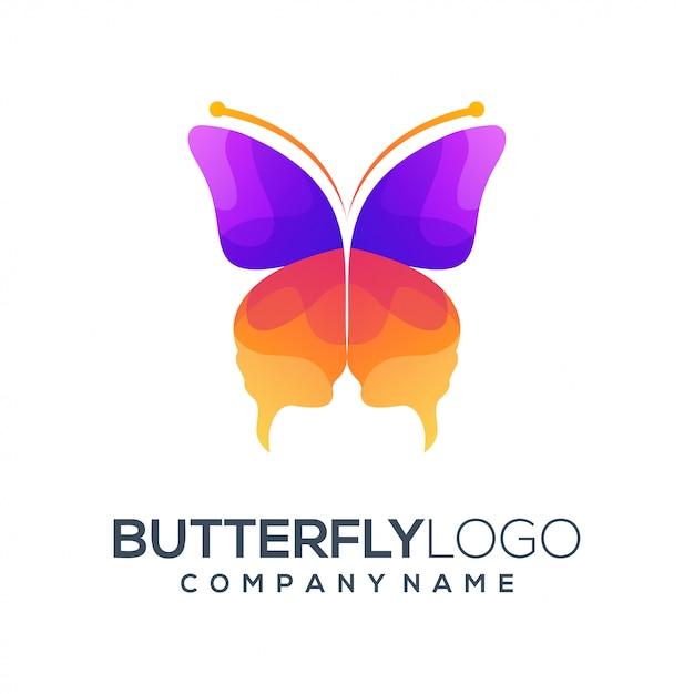 Resumo de logotipo de borboleta Vetor Premium