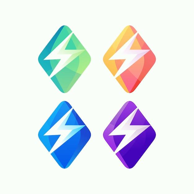 Resumo de logotipo de energia Vetor Premium