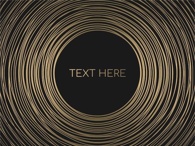 Resumo de ouro círculos linhas frame redondo em fundo preto. Vetor Premium