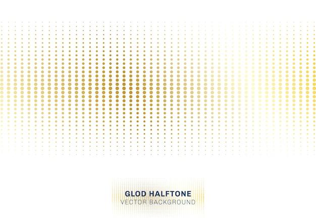 Resumo de ouro pontos padrão de meio-tom em fundo branco Vetor Premium