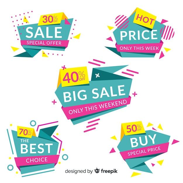 Resumo de vendas coleção de modelo de banner Vetor grátis