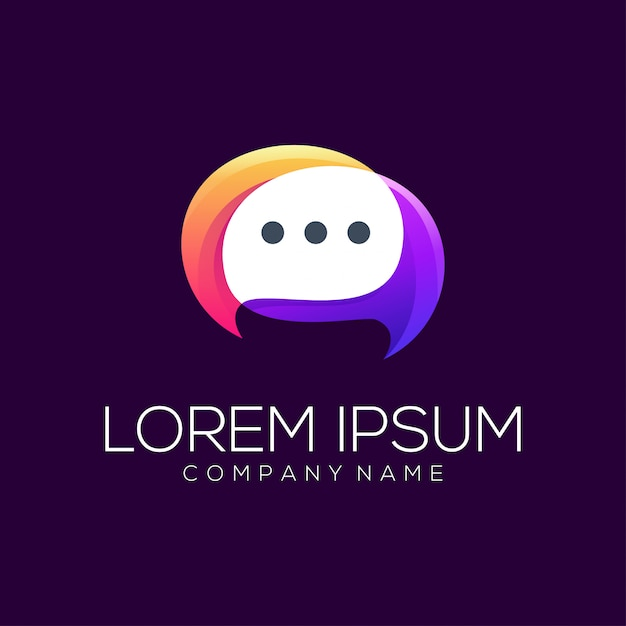 Resumo de vetor de design de logotipo de bate-papo Vetor Premium