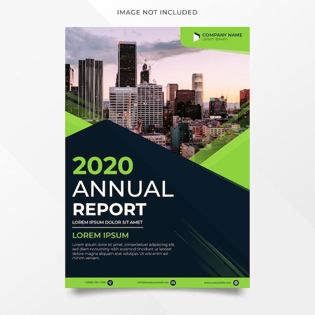Resumo design de relatório anual com forma verde Vetor Premium