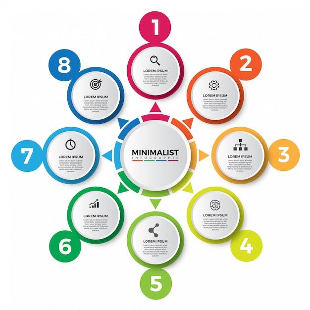 Resumo do modelo de design colorido infográfico. Vetor Premium