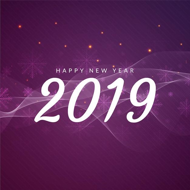 Resumo feliz ano novo 2019 saudação fundo ondulado Vetor grátis