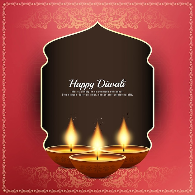 Resumo feliz diwali fundo saudação religiosa Vetor Premium