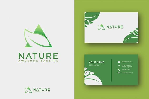 Resumo folha logotipo e cartão de visita Vetor Premium