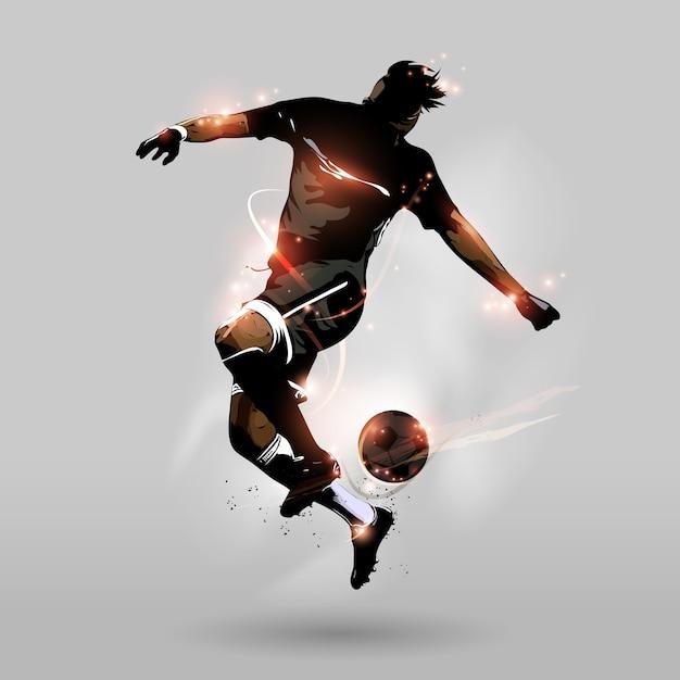 Resumo futebol pulando bola de toque Vetor Premium