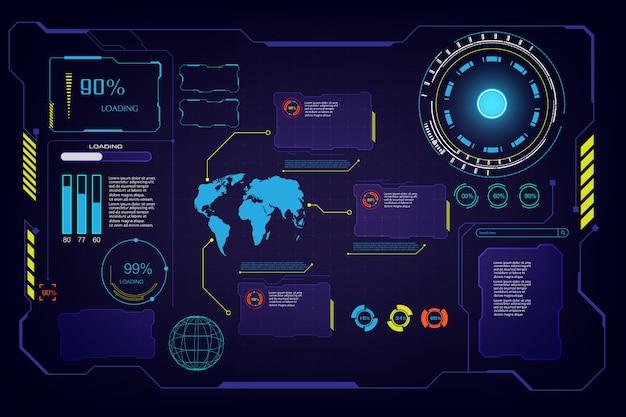 Resumo futuro hud ui interface de interface de tela oi tech fundo t Vetor Premium