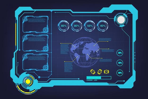 Resumo hud ui gui futuro sistema de tela futurista virtual Vetor Premium