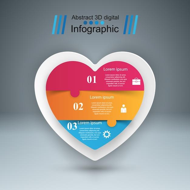 Resumo ilustração digital 3d infográfico. ícone do coração. Vetor Premium