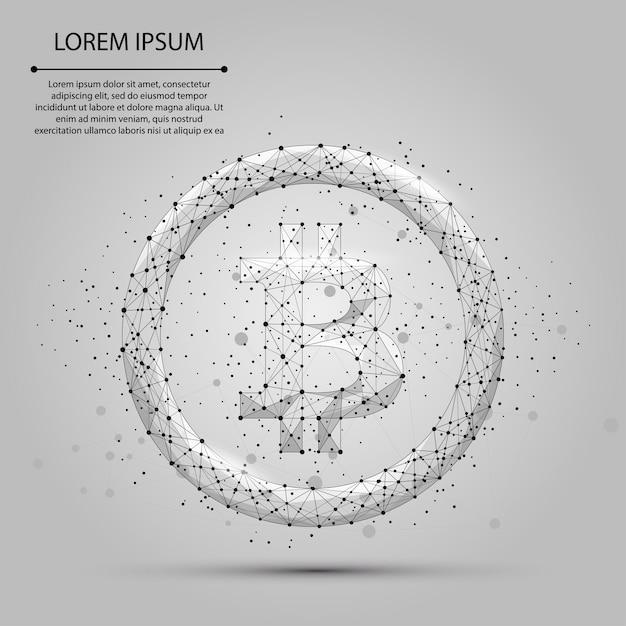 Resumo linha de mash e ponto bitcoin. ilustração de negócios. moeda poli baixa poligonal Vetor Premium