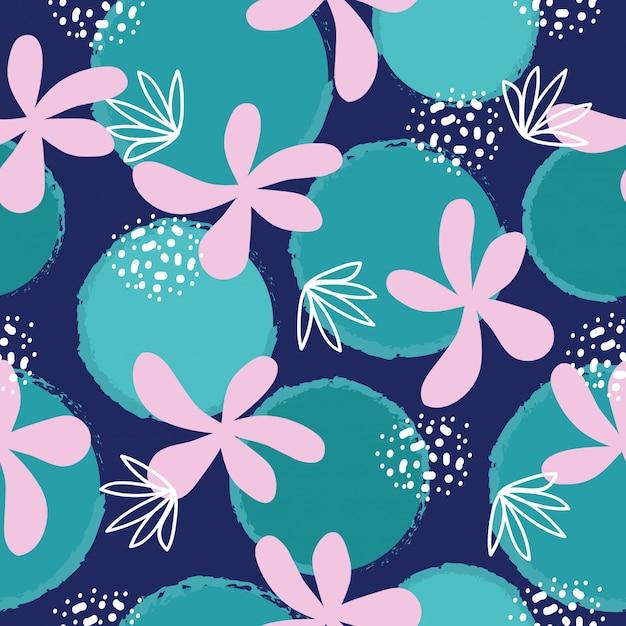 Resumo mão desenhada flores padrão sem emenda Vetor Premium
