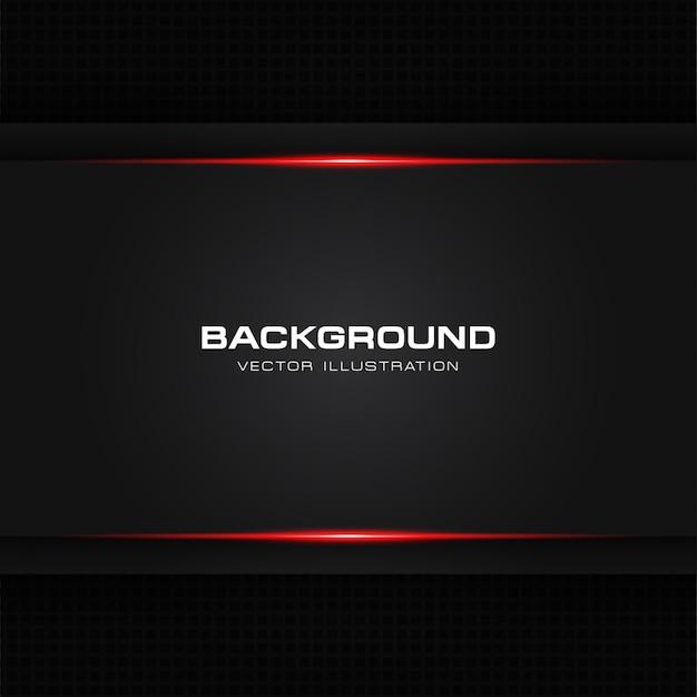 Resumo metálico vermelho brilhante cor preta quadro layout moderno tech Vetor Premium