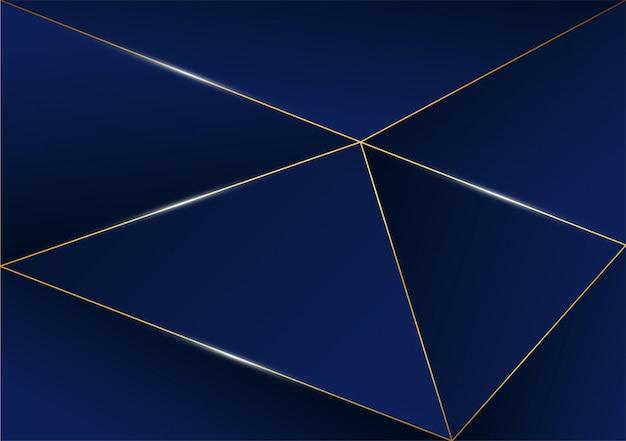 Resumo padrão poligonal linha dourada de luxo com azul escuro Vetor Premium